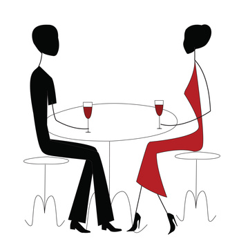 man and woman in a restaurant